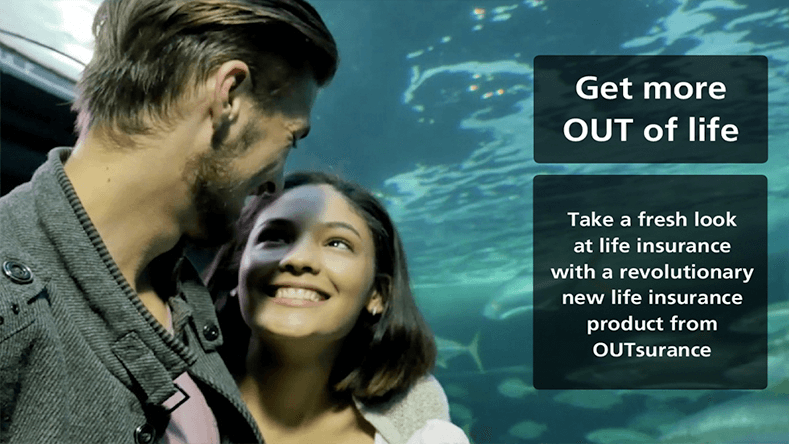Female and male facing each other - with aquatic background and Outsurance copy on the picture - Brands on Demand.