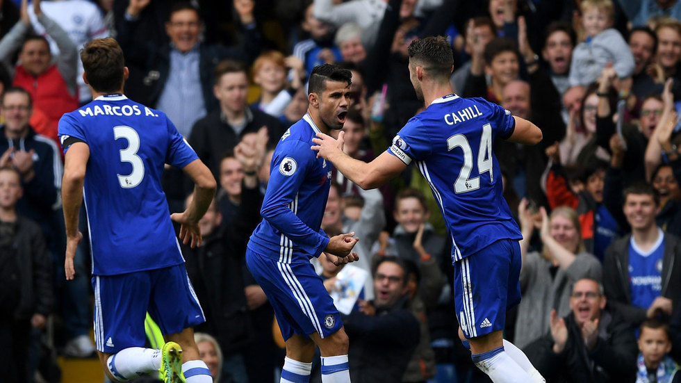 Diego Costa celebrating with teammates.