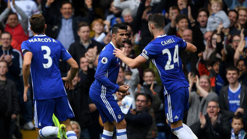 Diego Costa celebrating with teammates.