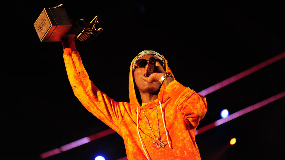 Wizkid celebrats at the MTV Africa Music Awards Johannesburg 2016.