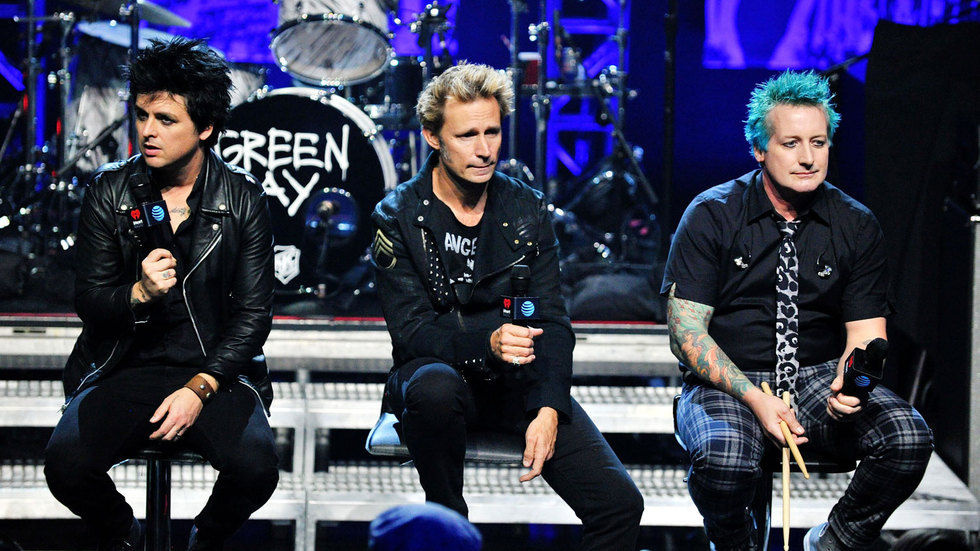 illie Joe Armstrong, Mike Dirnt and Tre Cool of Green Day.
