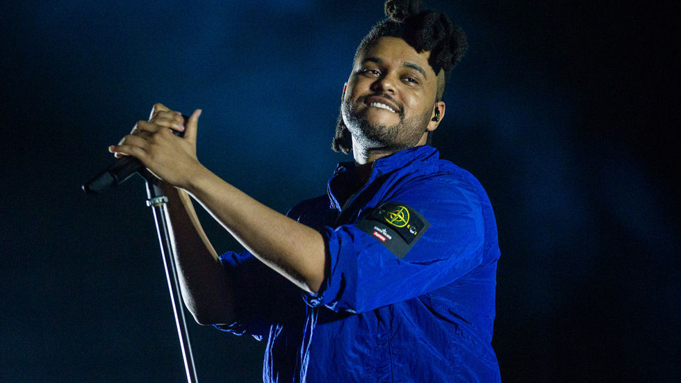 Recording artist The Weeknd performing live.