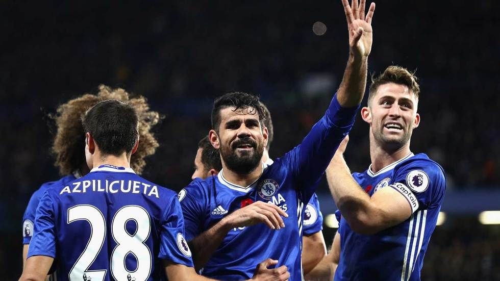 Diego Costa acknowledges the fans.