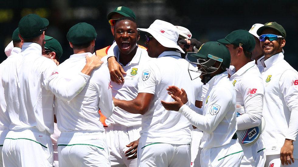 Proteas bowler Kagiso Radaba celebrates with teammates.