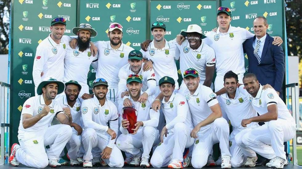 The Proteas celebrate after winning the two-match Test series in Australia.