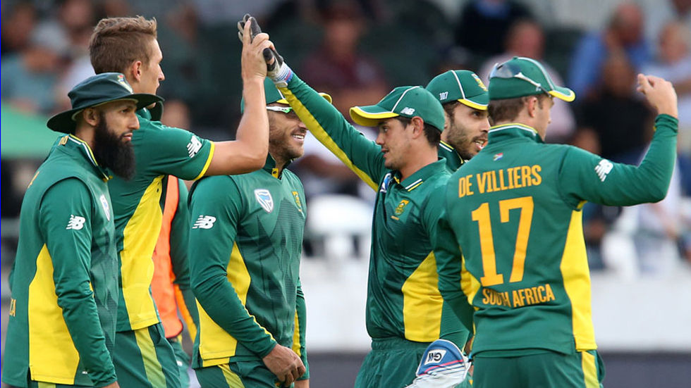 ODI SA team with Amla, De Villiers, De Kock, Behardien, Morris and Du Plessis