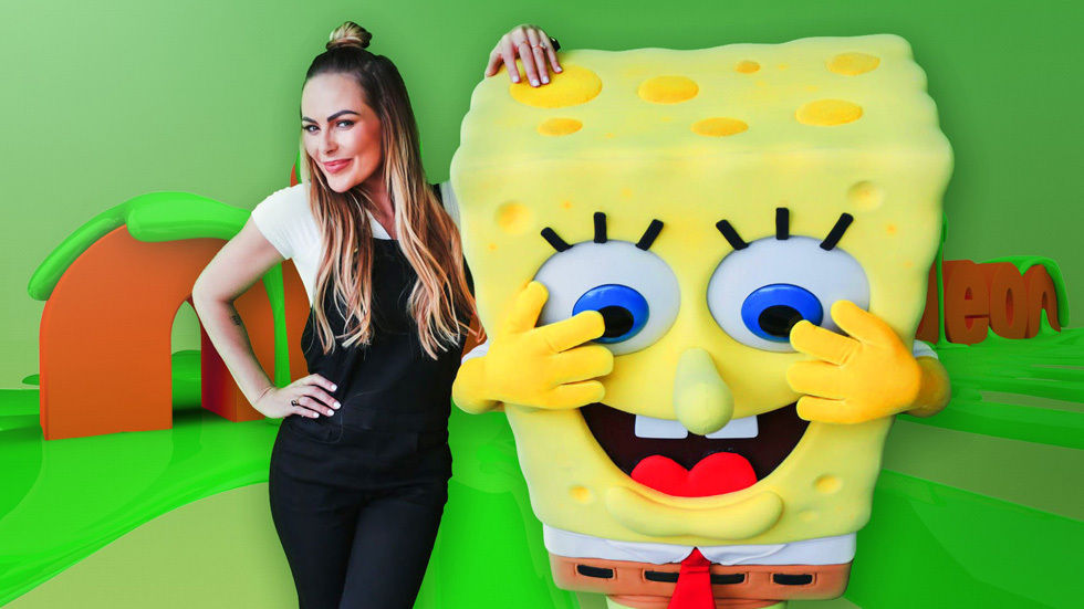 Karlien Van Jaarsveld with Sponge Bob square parts.