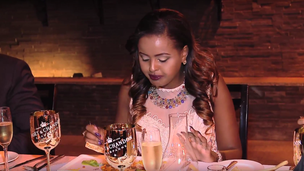 Amina enjoying a wine food pairing with Moet