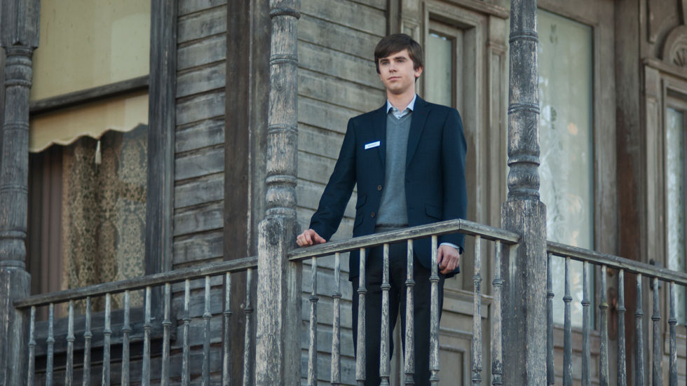 Norman Bates stares from the balcony