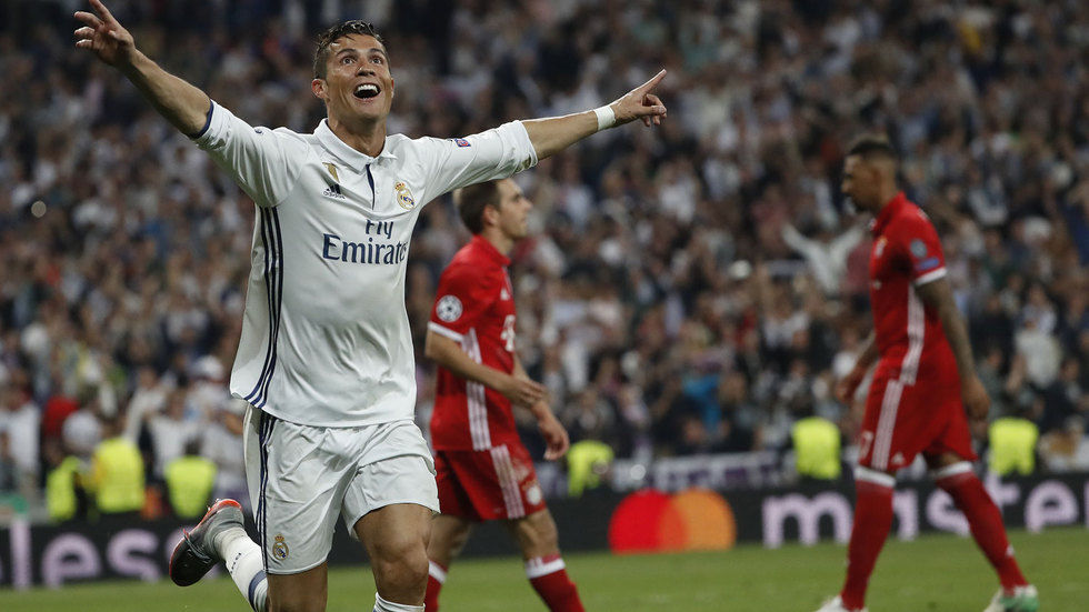 Cristiano Ronaldo celebrates a goal against Bayern Munich.