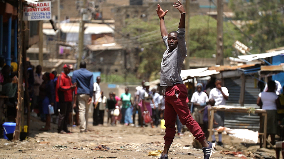 A performer in Kibera in Nairobi