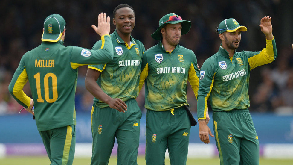 South African fast bowler Kagiso Rabada celebrates a wicket.
