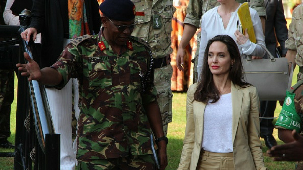UNHCR Special Envoy and Hollywood actor Angelina Jolie visits the International Peace Support Center in Nairobi on World Refugee Day on 20 June.
