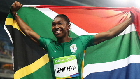 Caster Semenya with the South African flag after winning gold at the 2016 Olympic Games.
