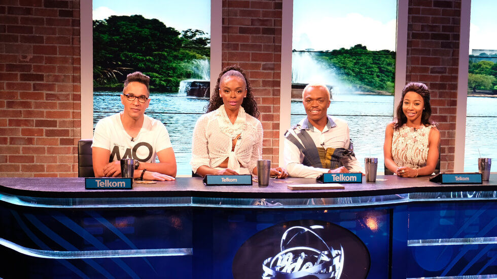 The pannel of judges Randall, Unathi, Somizi and guest judge Kelly Khumalo at the Idols SA auditions.