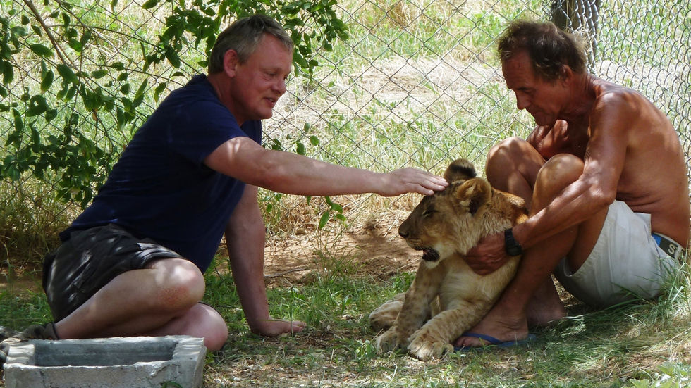 Two men with a lion cub.