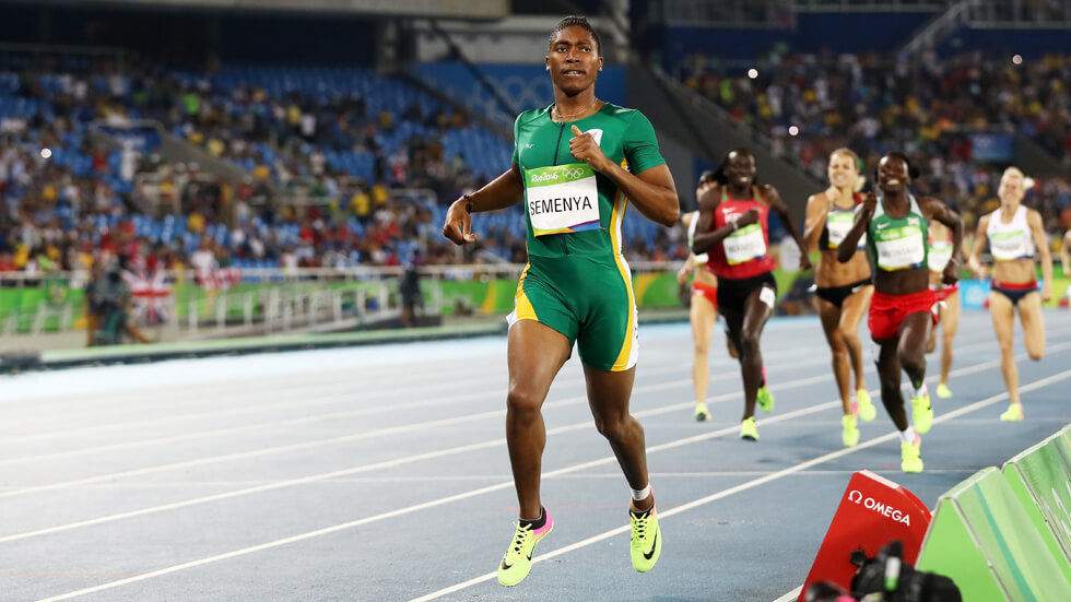 Caster Semenya at the 800m Final at the 2016 Rio Olympics.