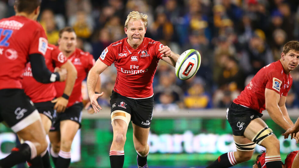 Ross Cronje of the Lions passes the ball during a Vodacom Super Rugby match.