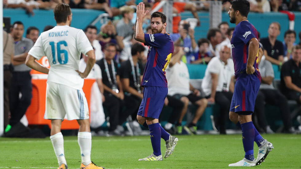 Lionel Messi acknowledges the fans after his substitution.