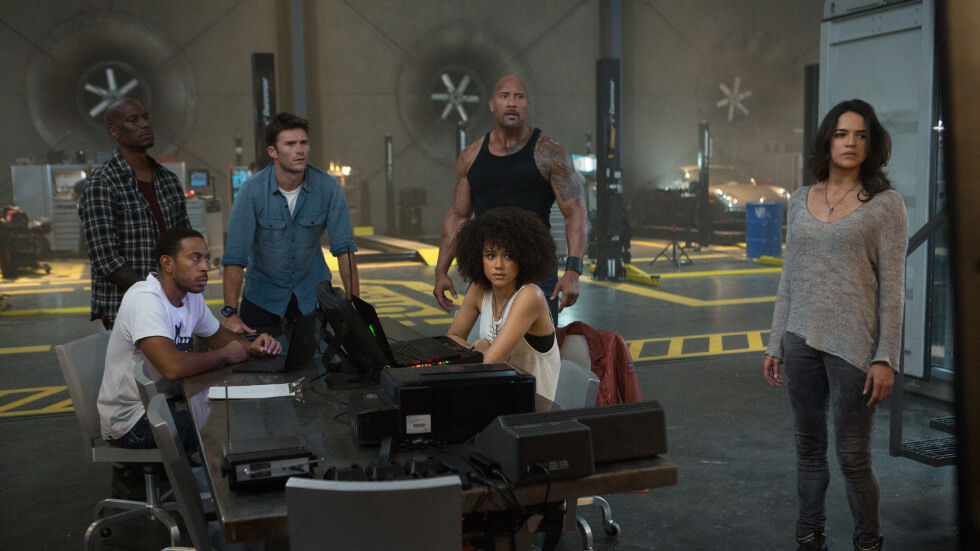 The cast of The Fate of The Furious.