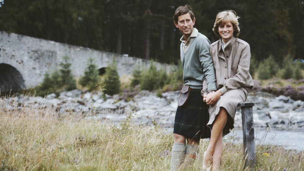 An image of Prince and Princess of Wales. Diana and Charles on honeymoon