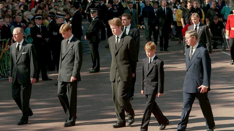 An image of  Prince Philip, Prince William, Count Spencer, Prince Henry and Prince Charles