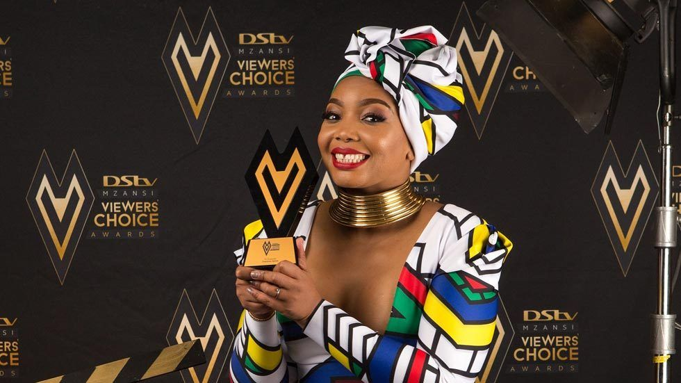 TV presenter Thembisa Mdoda, winner at the DStv Mzansi Viewers' Choice Awards.