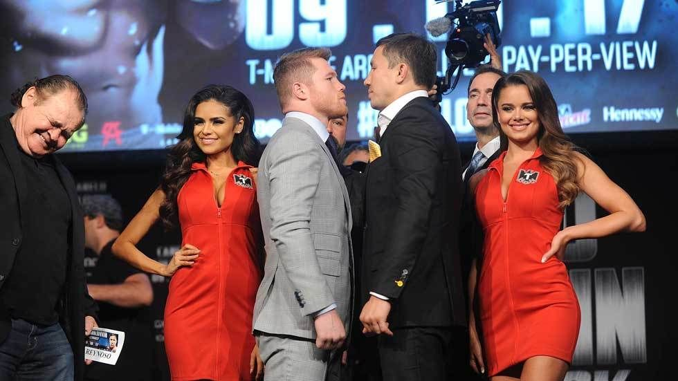 "Gennady ""GGG"" Golovkin and Saul ""Canelo"" Alvarez face off."