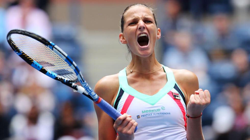 Karolina Pliskova celebrates Round 3 win at the US Open.