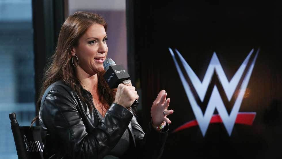 Stephanie McMahon speaks at a WWE event.