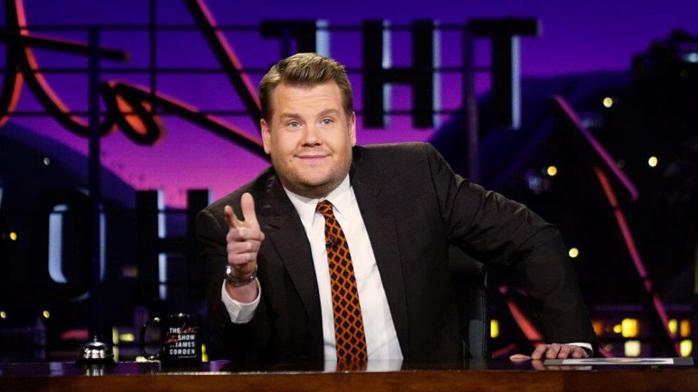 James Corden at his Late Late Show desk.
