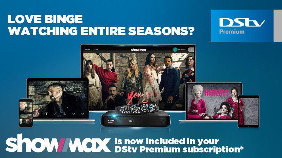 Images of Taboo, Younger and Harlots on Showmax with DStv Explora and Dstv Premium logo.
