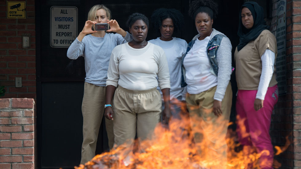 Taylor Schilling, Danielle Brooks, Adrienne C. Moore, Vicky Jeudy and 	Amanda Stephen in Orange is the New Black Season 5