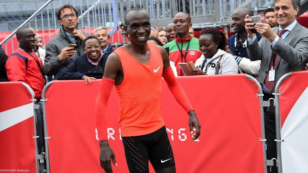 Kipchoge smiling at the finish line