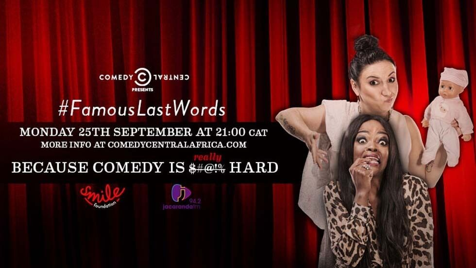 Nina Hastie and Kuli Roberts on Famous Last Words on Comedy Central.