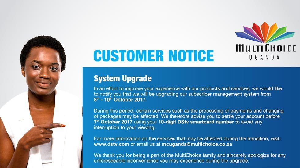 Uganda customer notice on upgrading systems for clarity