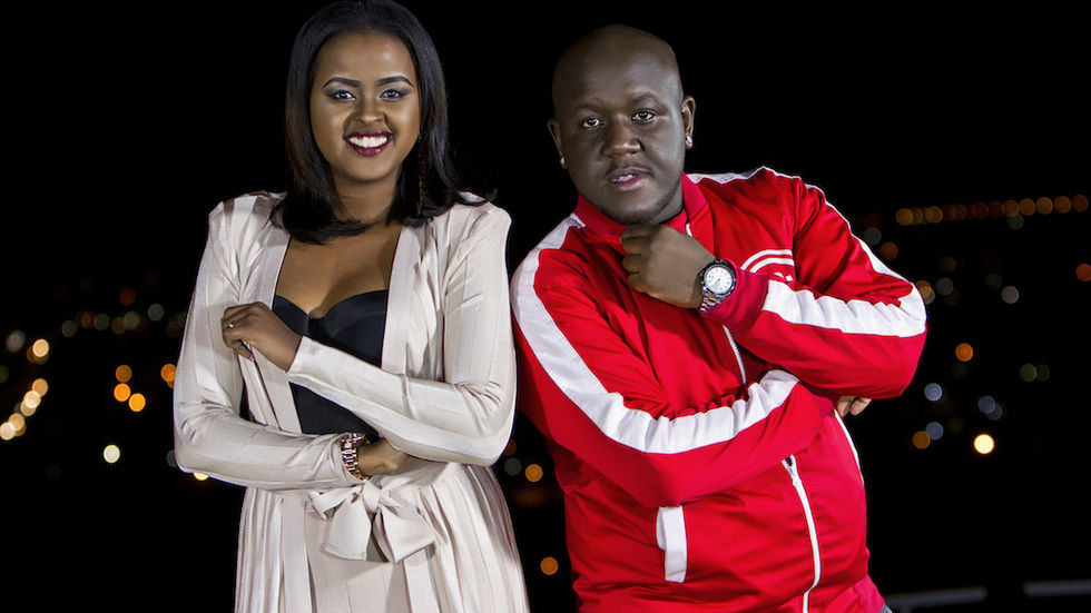 Amina and DJ Joe Mfalme pose for Turn Up