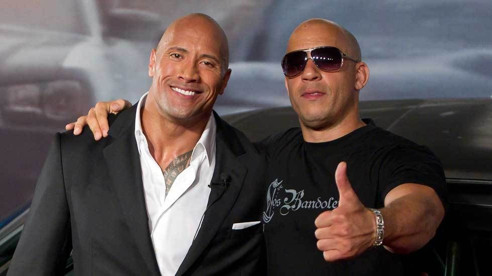 Dwayne Johnson and Fast and the Furious co-star Vin Diesel.