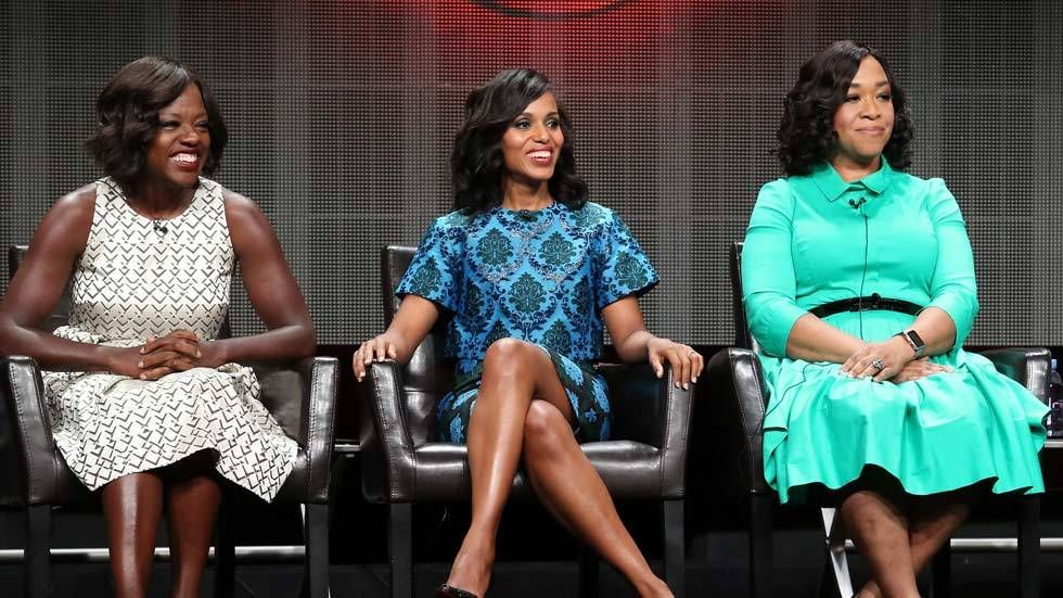 Actresses Viola Davis, Kerry Washington, executive producer Shonda Rhimes speak onstage during the 'Grey's Anatomy,' 'Scandal,' and 'How To Get Away With Murder' panel discussion at the ABC Entertainment portion of the 2015