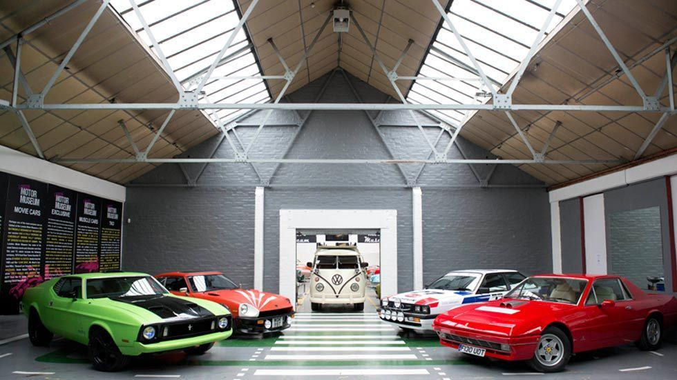 Cars on display indoors