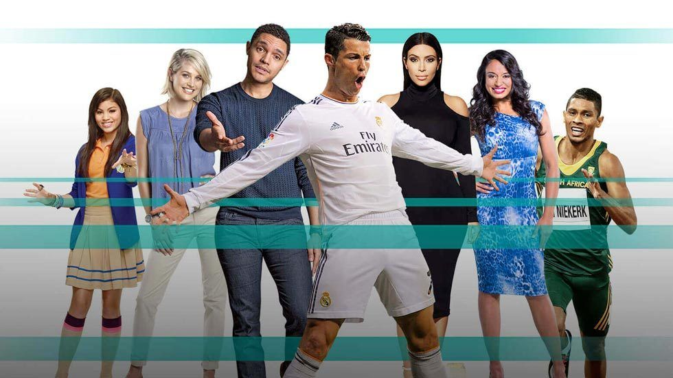 A group of people including Ronaldo and Kim Kardashian behind turquoise lines on DStv Compact