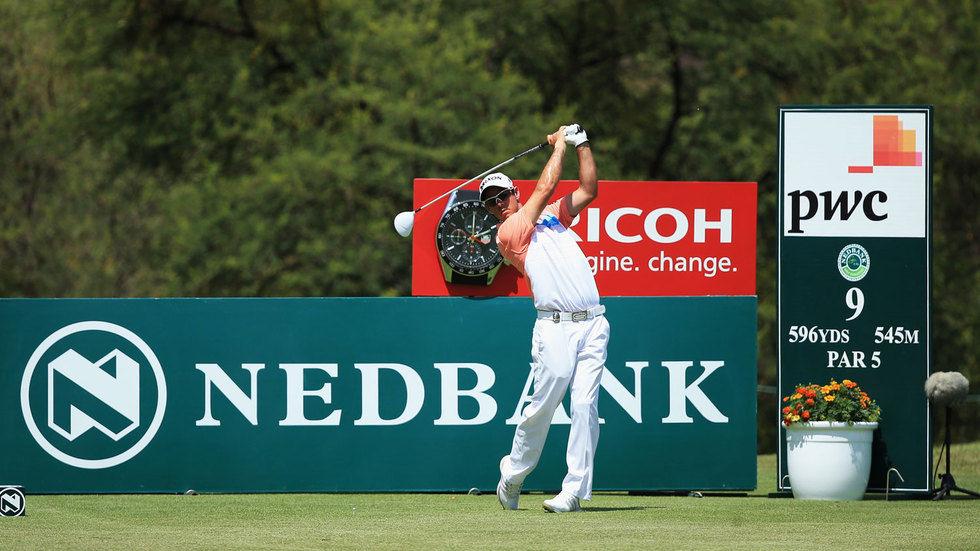 Jaco Van Zyl swinging a golf club