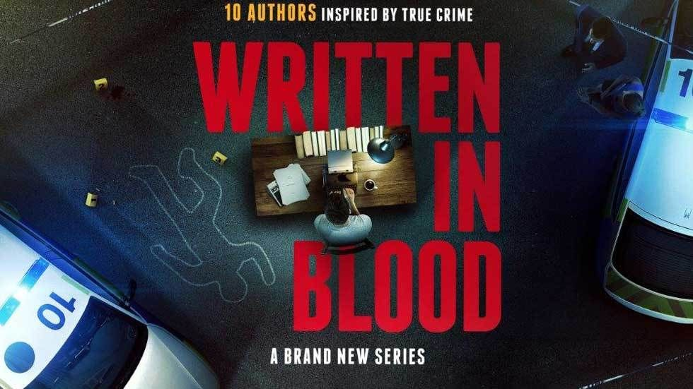Poster of Written in Blood with author at desk seen from above, with two police cars