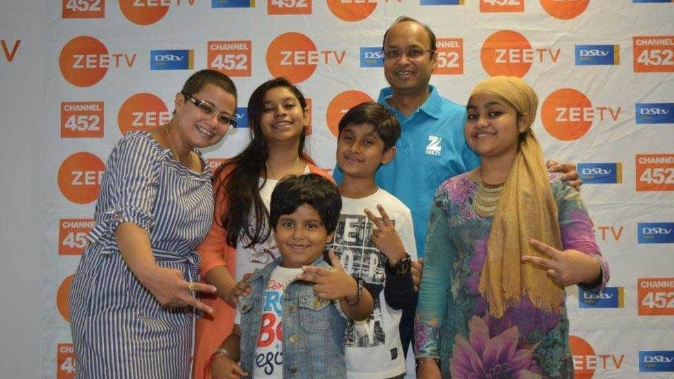 The winner and runners up from the Sa Re Ga Ma Pa Lil Champs with Zee TV CEO Harish Goyal and Ratna Siriah, Business Head - Africa