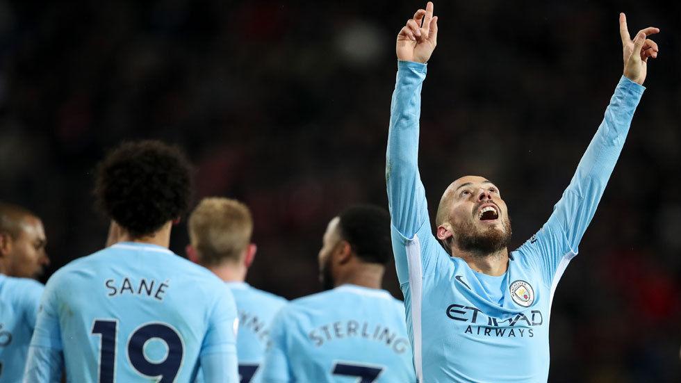 David Silva of Manchester City celebrates a goal.