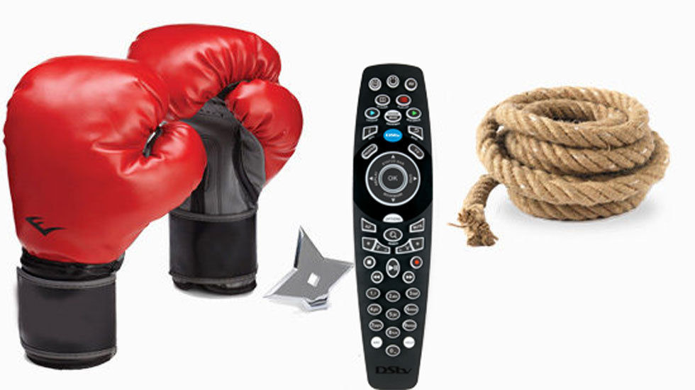 DStv XtraView remote with boxing gloves and rope and ninja star