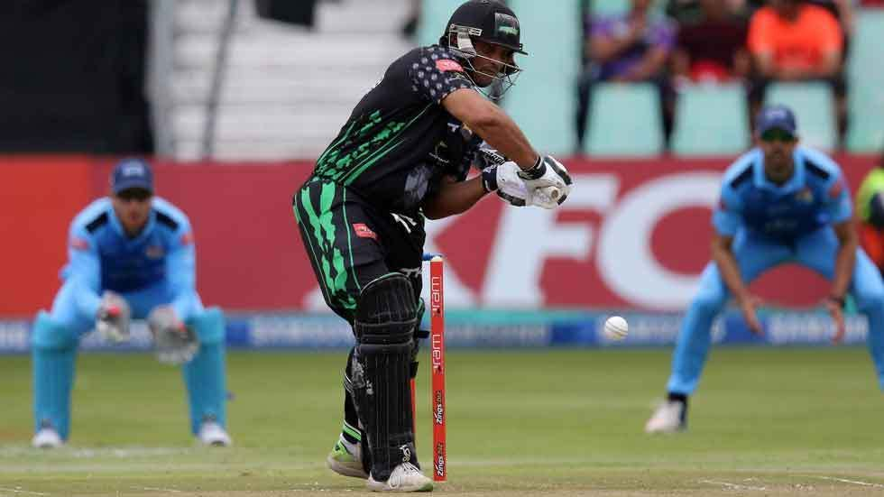 Vaughn van Jaarsveld hits the ball in the RAM Slam T20 Challenge against the Titans.
