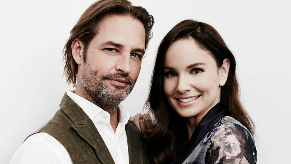 Sarah Wayne Callies and Josh Colloway from The Colony - posing for a portrait image,