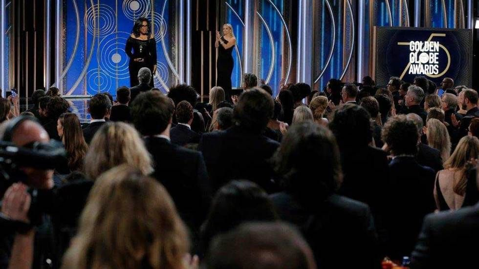 Oprah Winfrey on stage at the 75th Golden Globes 2018