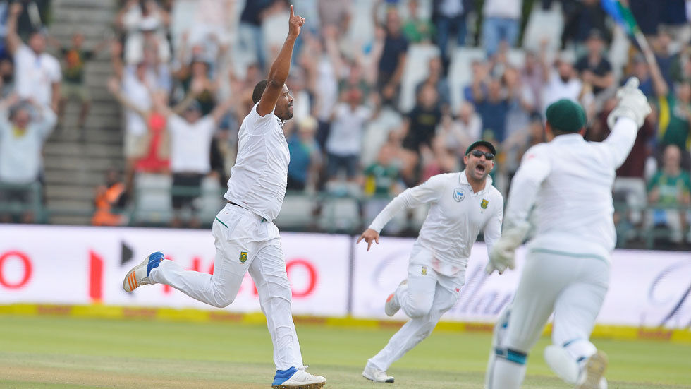 Vernon Philander celebrates a wicket in the first Test match.
